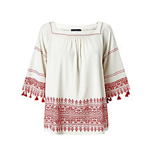 Buy Weekend MaxMara Zambia Top, White/Red Online at johnlewis.com