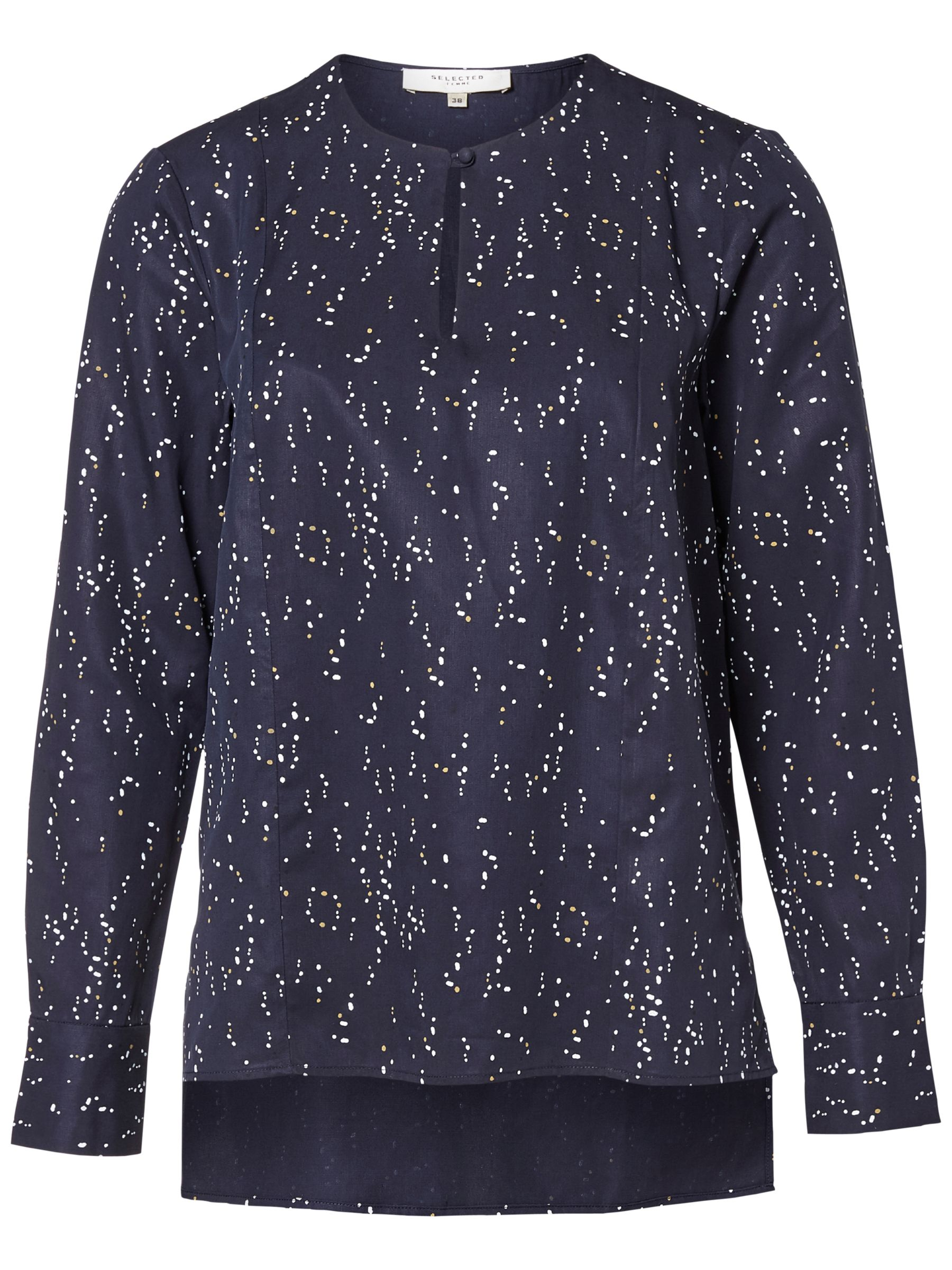 Selected Femme Selected Femme Gaila Printed Blouse, Dark Sapphire