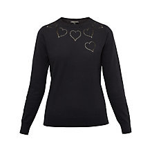 Buy Ted Baker Iarni Heart Detail Cut Work Jumper, Black Online at johnlewis.com