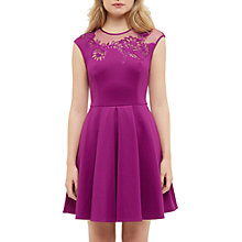 Buy Ted Baker Dollii Embroidered Mesh Detail Skater Dress, Deep Purple Online at johnlewis.com