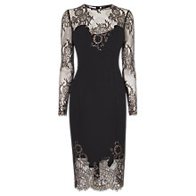 Buy Karen Millen Metallic Lace Dress, Black/Multi Online at johnlewis.com