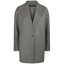 Buy Jaeger Wool Turn-Back Lapel Cocoon Coat, Grey Melange Online at johnlewis.com