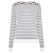 Buy Oasis Embellished Stripe Top, Multi Online at johnlewis.com