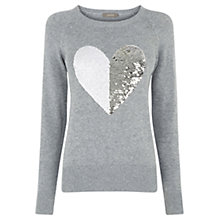 Buy Oasis Sequin Heart Jumper, Dark Grey Online at johnlewis.com