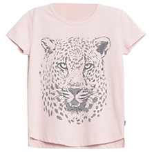 Buy Wheat Girls' Leopard Head T-Shirt, Pink Online at johnlewis.com