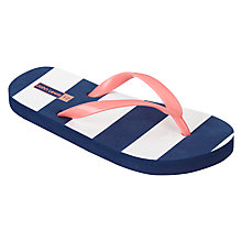Buy John Lewis Children's Stripe Flip Flops, Navy/Pink Online at johnlewis.com
