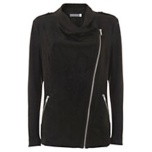Buy Mint Velvet Faux Suede Organic Biker Jacket, Black Online at johnlewis.com
