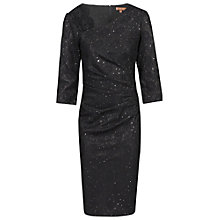 Buy Jolie Moi Three-Quarter Sleeve Bonded Lace Dress, Black Online at johnlewis.com