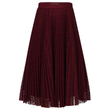 Buy Jolie Moi Pleated Lace A-Line Skirt, Burgundy Online at johnlewis.com
