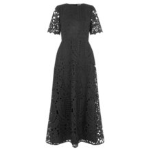 Buy Warehouse Premium Lace Midi Dress, Black Online at johnlewis.com
