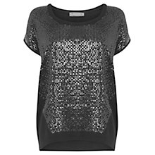 Buy Oasis Sequin Front T-Shirt, Black Online at johnlewis.com