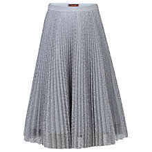 Buy Jolie Moi Pleated Lace A-Line Skirt, Grey Online at johnlewis.com