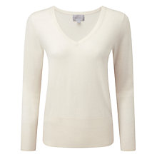 Buy Pure Collection Elsa Superfine V Neck Jumper, Soft White Online at johnlewis.com
