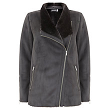 Buy Mint Velvet Suedette Faux Fur Soft Jacket, Grey Online at johnlewis.com