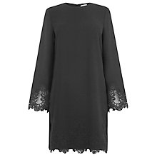 Buy Warehouse Lace Detail Shift Dress, Black Online at johnlewis.com