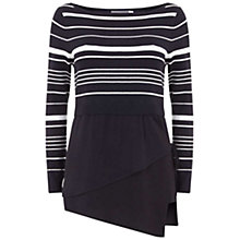 Buy Mint Velvet Stripe Wrap Detail Jumper, Navy Online at johnlewis.com