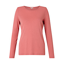 Buy Jigsaw Pima Cotton Long Sleeve T-Shirt, Coral Blush Online at johnlewis.com
