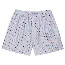 Buy Sunspel Classic Diver Print Cotton Boxer Shorts, Blue Online at johnlewis.com