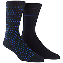 Buy Calvin Klein Plain Dot Socks, Pack of 2, Navy Online at johnlewis.com