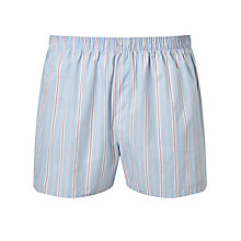 Buy Sunspel Classic Stripe Woven Cotton Boxers, Blue/Pink Online at johnlewis.com
