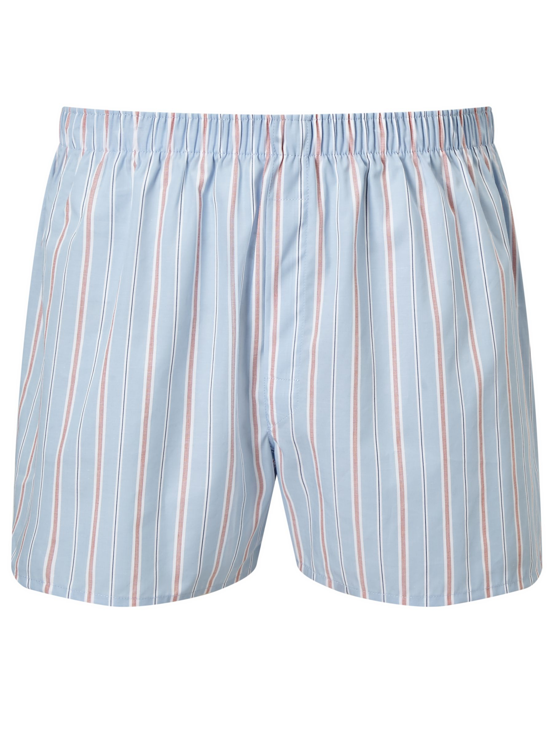 Sunspel Sunspel Classic Stripe Woven Cotton Boxers, Blue/Pink