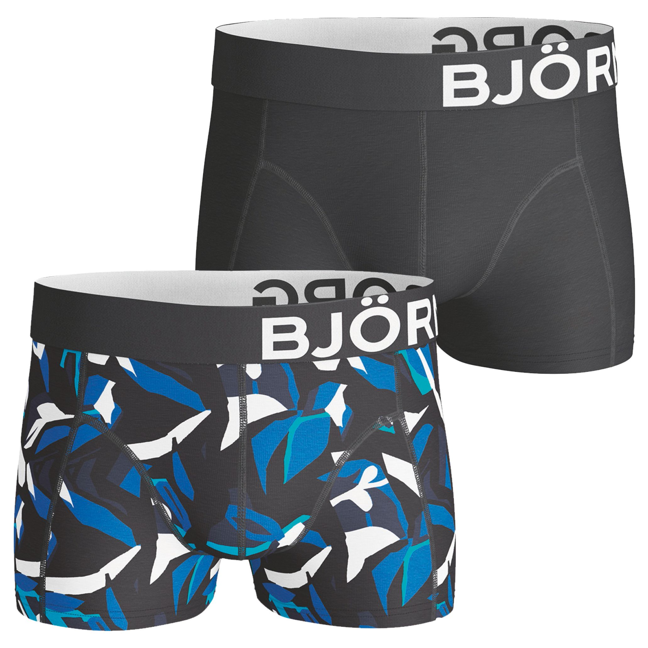 Bjorn Borg Bjorn Borg Graphic Print Short Trunks, Pack of 2, Black