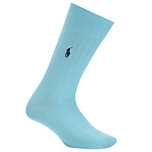 Buy Polo Ralph Lauren Egyptian Cotton Blend Ribbed Socks, Turquoise Online at johnlewis.com