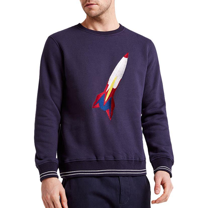 HYMN HYMN Zoom Rocket Graphic Sweatshirt, Navy
