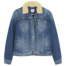 Buy Fat Face Denim Borg Jacket, Blue Online at johnlewis.com