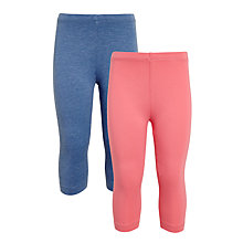 Buy John Lewis Girls' Cropped Leggings, Pack of 2, Pink/Blue Online at johnlewis.com