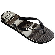 Buy Havaianas Sea Photo Flip Flops, Black/White Online at johnlewis.com