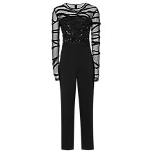 Buy Reiss Salie Sequin Jumpsuit, Black Online at johnlewis.com