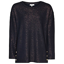 Buy Reiss Finch Stripe Top, Navy/Rose Gold Online at johnlewis.com