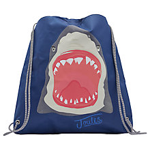 Buy Little Joule Children's Shark Print Active Drawstring Bag, One size, Blue/Multi Online at johnlewis.com