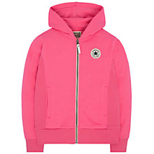 Buy Converse Girls' Rib Panel Zip Hoodie, Pink Online at johnlewis.com