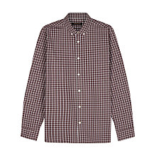 Buy Jaeger Mini Check Long Sleeve Shirt, Winetasting Online at johnlewis.com