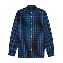 Buy Jaeger Large Check Long Sleeve Shirt, Navy Online at johnlewis.com