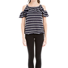 Buy Max Studio Embroidered Cold Shoulder Top, Navy/Ivory Online at johnlewis.com