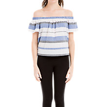 Buy Max Studio Cold Shoulder Stripe Top, Blue/White Online at johnlewis.com
