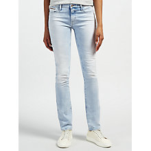 Buy Calvin Klein Mid Rise Straight Jeans, Coast Blue Online at johnlewis.com