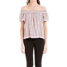Buy Max Studio Cold Shoulder Stripe Top, Pink/Navy Online at johnlewis.com