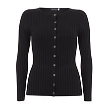 Buy Mint Velvet Cropped Ribbed Scoop Neck Cardigan, Black Online at johnlewis.com