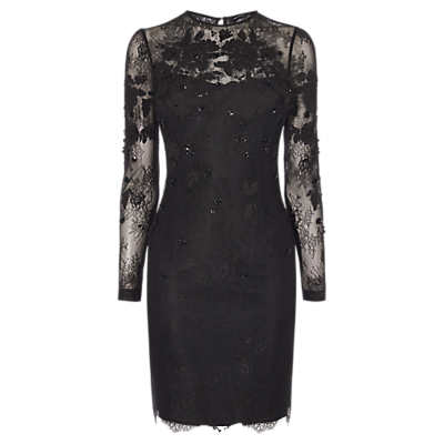 Karen Millen Applique Floral Lace Dress, Black
