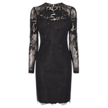 Buy Karen Millen Applique Floral Lace Dress, Black Online at johnlewis.com