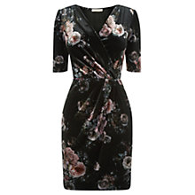 Buy Oasis Floral Print Velvet Wrap Dress, Black/Multi Online at johnlewis.com