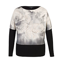 Buy Chesca Rose Print Diamante Trim Jumper, Grey/Black Online at johnlewis.com