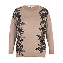 Buy Chesca Lace Trim Jumper, Taupe/Black Online at johnlewis.com
