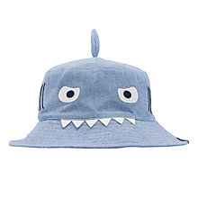 Buy Little Joule Children's Hat Attack Shark Sun Hat, Blue Online at johnlewis.com