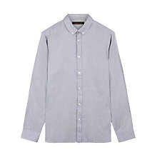 Buy Jaeger Brushed Twill Long Sleeve Shirt, Navy Online at johnlewis.com
