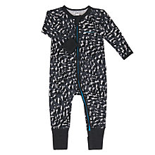 Buy Bonds Baby Sketch Leopard Print Zip Wondersuit Sleepsuit, Black/White Online at johnlewis.com